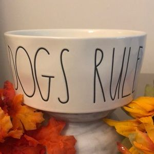 Rae Dunn DOGS RULE Large Pet Food Bowl..🐕